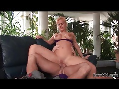 Blonde with a tasty shaved pussy fucked and fingered tubes