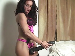 Small fit girl plays with huge dildo tubes
