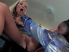 Interracial lesbian sex with sluts in shiny blouses tubes