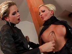 Women in black satin have hot lesbian sex tubes