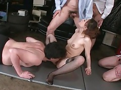 Japanese girl blows lots of dicks in sexy video tubes