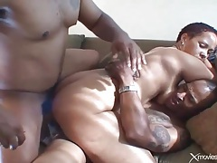 Black guys do a dp with this slutty black chick tubes