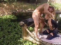 Beautiful sex with a blonde babe outdoors tubes