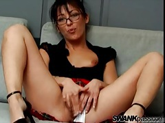 Schoolgirl chick in glasses and panties toys pussy tubes