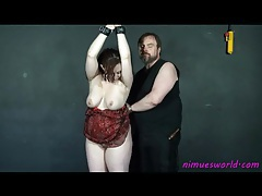 Bound fat girl stripped and smacked by her man tubes