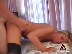 Blonde in stockings fucked in her sexy cunt tubes