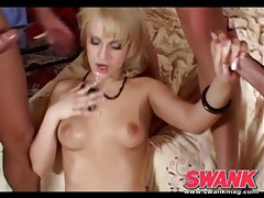 Gangbang with a double penetration and facials tubes