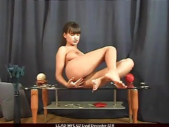 Big titty babe masturbates on coffee table tubes