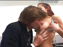Seductive young slut in his office wants cock tubes