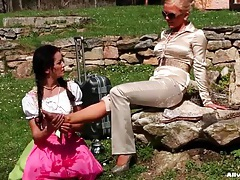 Foot massage outdoors for her sexy mistress tubes