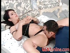 Voluptuous slut in lingerie licked by horny man tubes