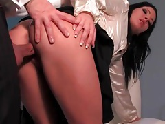Perfect shiny satin blouse on a fucked hottie tubes