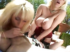 Busty women blow him and sit on his face tubes