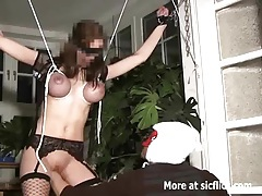 Brutal pussy fisting in tight rope bondage tube