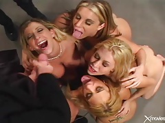 Cumshots flying in a blowjob group video tubes