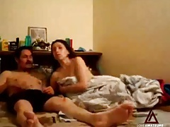 She gives a quick blowjob and rides him with her cunt tubes
