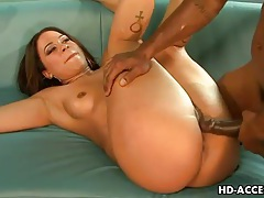 Cute black chick fucked in the ass by black cock tubes