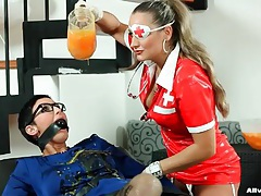 Bound and gagged girl has mess poured onto her tubes