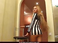 Long legged girl in a short and slutty dress tubes