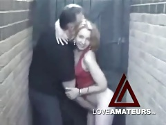 Fingering his wife and getting sucked in alley tubes