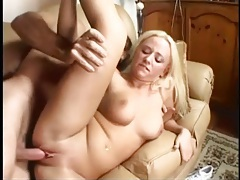Cute blonde with curves takes dick in her shaved pussy tubes