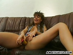 Amateur milf toys, sucks and fucks with cum on ass tubes