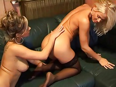 Juicy lesbian pussy licked and taking pink toy tubes