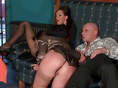 Ladies in stockings and pantyhose take his dick tubes