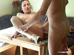 Shaved pussy fucked on kitchen table looks hot tubes