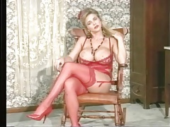 Red lingerie is hot on this fake tits blonde chick tubes
