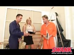 Well dressed blonde girl sucks on two dicks tubes