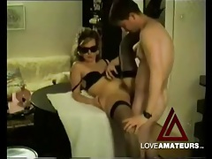 Fucking and licking his cute masked wife tubes