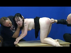 Butt plug in the ass of a submissive girl tubes