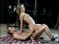 Limber young lady with small tits likes anal sex tubes