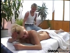 Masseur turns her on and she sucks his dick tubes