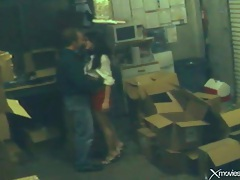 Babe banged on a pile of boxes in security cam clip tubes