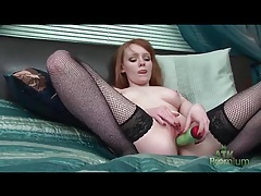 Cute redhead in fishnet stockings masturbates tubes