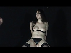 Leather panties and stockings on abused young lady tubes