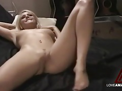 Fucking his sexy blonde girlfriend and cumming tubes