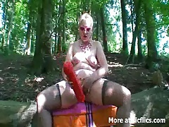 Extreme fisting and giant dildo fucking outdoors tubes