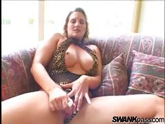 Leopard print lingerie girl masturbates her pussy tubes