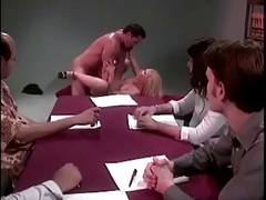 Office group watches sexy blonde get fucked in the ass tubes