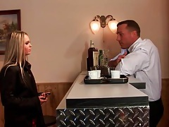 Bartender fools around with a chick in short skirt tubes