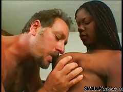 Older guy eating out a sexy young black chick tubes