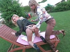 Dildo sex with lezzies looking good outdoors tubes