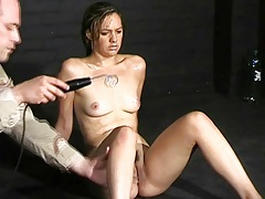 Worn out chick does pain play in dungeon tubes