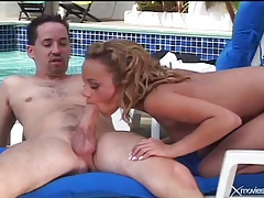 Great doggystyle hardcore outdoors with hair pulling tubes