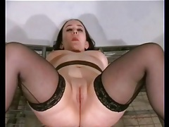 Abusing a sexy girl with shaved pussy tubes