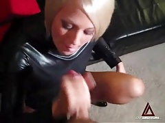 Girl in tight black leather top jerks off a cock tubes