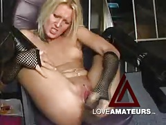 Sexy latex leggings on blonde girl masturbating tubes